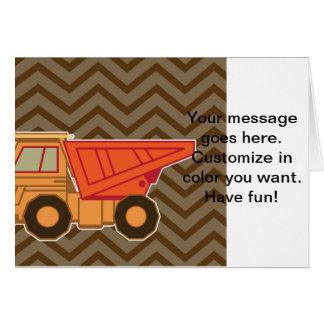 Orange lastbil för transport - brunt hälsningskort