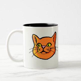 Orange ljust rödbrun kattteckningmugg Två-Tonad mugg