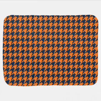 Orange/marinblåa Houndstooth Bebisfilt