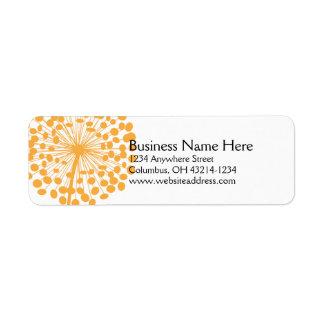 Orange maskrosreturetiketter 2 returadress etikett
