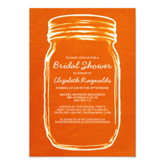 Orange Masonburkinbjudningskort för möhippan 12,7 X 17,8 Cm Inbjudningskort