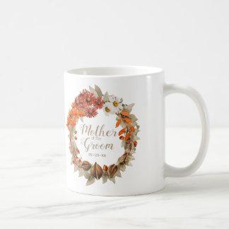 Orange mor för nedgångbröllopkran av brudgummen kaffemugg
