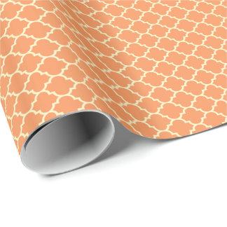 Orange och beige Quatrefoil mönster Presentpapper