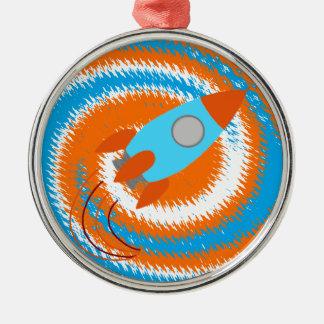 Orange- och blåttraket julgransprydnad metall