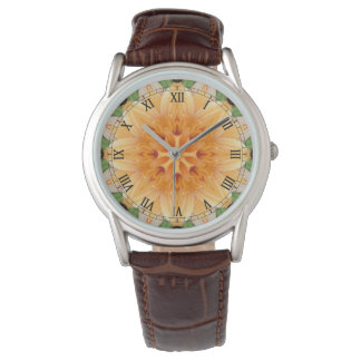 Orange- och gröntKaleidoscopeblomma Armbandsur