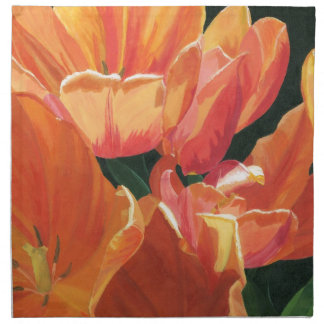 Orange- och gulttulpan tygservett