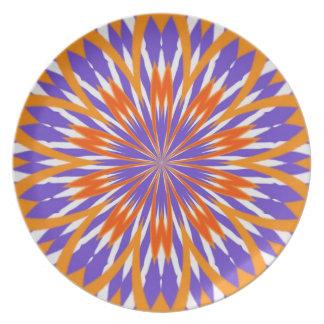 Orange- och lilaabstrakt pläterar tallrik