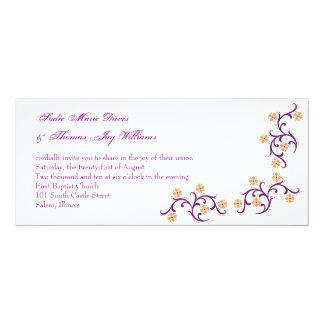 orange och lilor 10,2 x 23,5 cm inbjudningskort