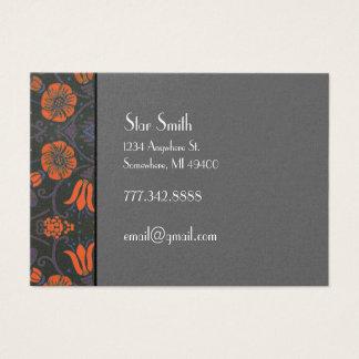 Orange och plommon för Swirly vintage blom- Visitkort