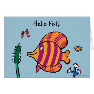 Orange och purpurfärgad tropisk fisk med Seahorses Hälsningskort