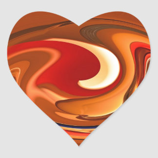 Orange och röd design för funkyabstrakt som bränns hjärtformat klistermärke
