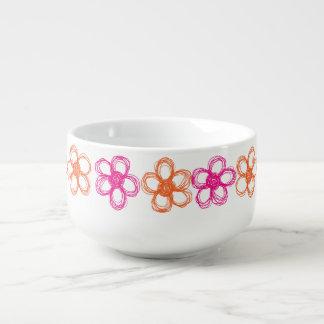 Orange och rosa vildblommor kopp för soppa