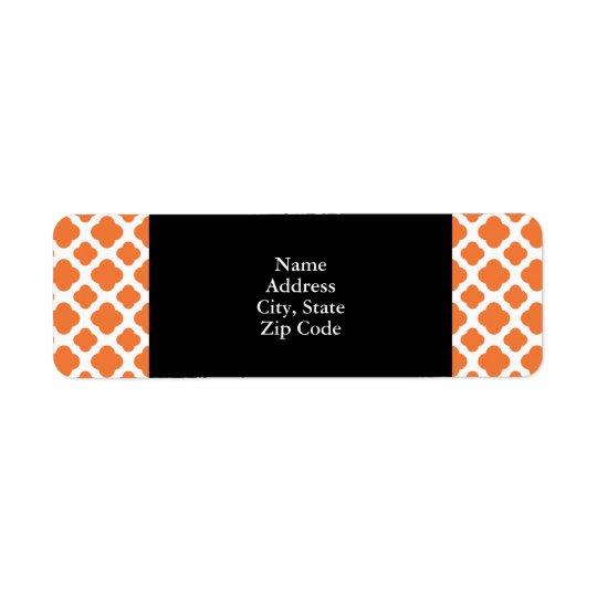 Orange- och vitQuatrefoil mönster Returadress Etikett