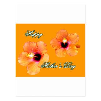 Orange orange bg för lycklig mors daghibiskus Met Vykort