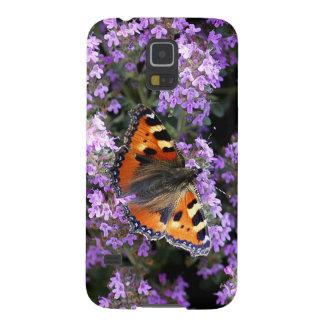Orange påfågelfjäril på lila blommor galaxy s5 fodral