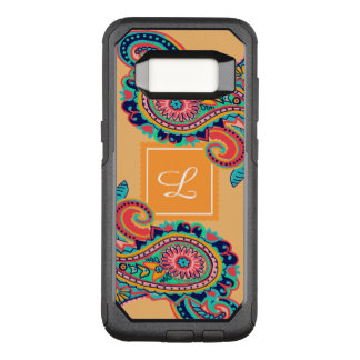 Orange Paisley för ljus regnbåge Monogram OtterBox Commuter Samsung Galaxy S8 Skal