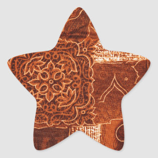 orange patchworktyg stjärnformat klistermärke