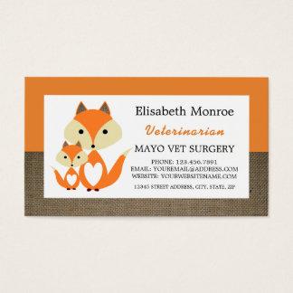Orange rävBurlap, veterinär som är veterinär- Visitkort