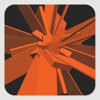 Orange rektanglar fyrkantigt klistermärke