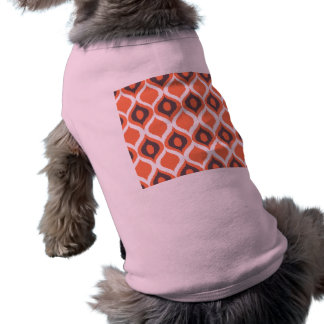 Orange Retro geometriskt Ikat stam- tryckmönster Långärmad Hundtöja