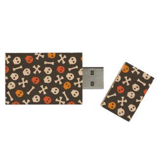 Orange röda och vittecknaddöskallar trä USB-minne