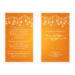 Orange skimrande stjärnor för elegant bröllopprogr flyg blad