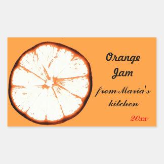 orange skiva för retro sylt rektangelformat klistermärke