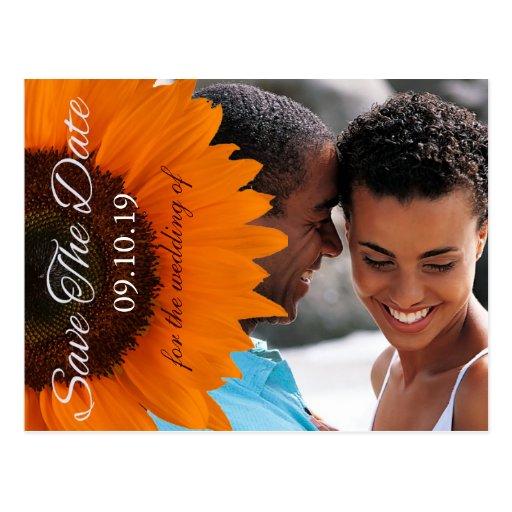 Orange solrosbröllop spara datumfoto