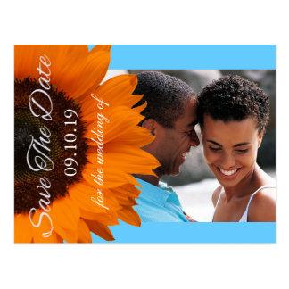 Orange solrosbröllop spara datumfoto vykort
