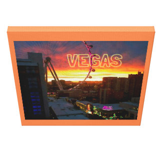 Orange soluppgångglödLas Vegas pariserhjul Canvastryck