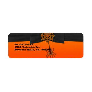 Orange & svart Bling spindelnät Returadress Etikett