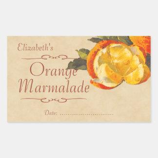 Orange sylt eller på burk retangel klistermärken