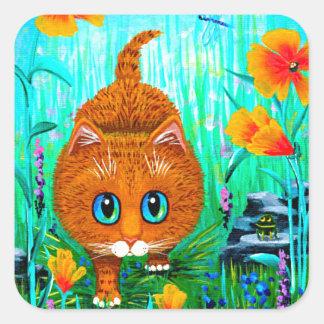 Orange Tabbytecknad Creationarts för rolig katt Fyrkantigt Klistermärke