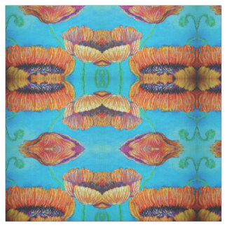 Orange vallmoKaleidoscope Tyg