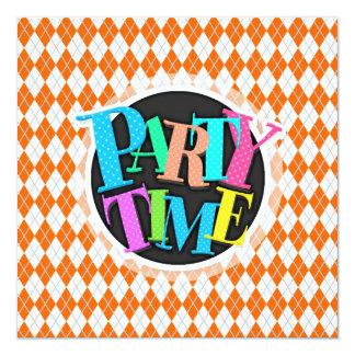 Orange & vit Argyle Fyrkantigt 13,3 Cm Inbjudningskort