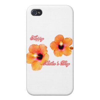 Orange vit bg för lycklig mors daghibiskus MUEN iPhone 4 Cases