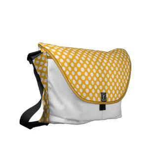 Orange vitpolka dots - messenger bag