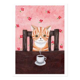 Orange vykort för tabby kattkaffeillustration