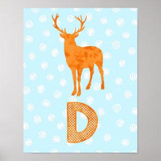 Orangen för blått för brev D för Poster