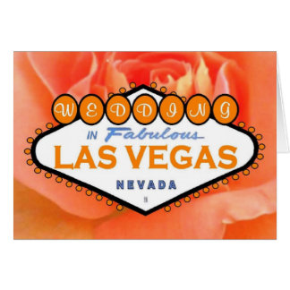 Orangerobröllop i det Las Vegas kortet Hälsningskort