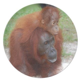 Orangutanmor och baby tallrik