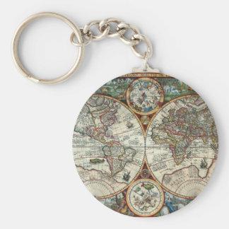Orbis Terrarum 1594 - berömd världskarta Rund Nyckelring