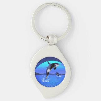 Orca 1 swirl silverfärgad nyckelring