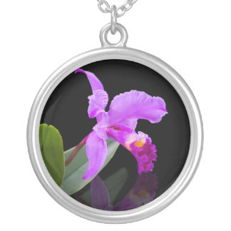 Orchid på svart halsband