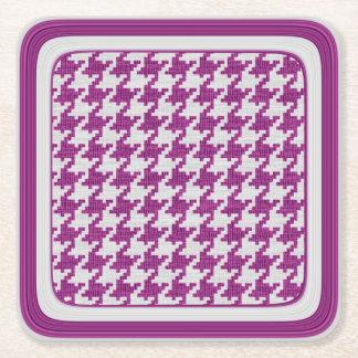 Orchid- & vitstickaHoundstooth geometriskt mönster Underlägg Papper Kvadrat