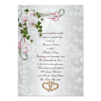 Orchids för bröllopinbjudanvit 12,7 x 17,8 cm inbjudningskort