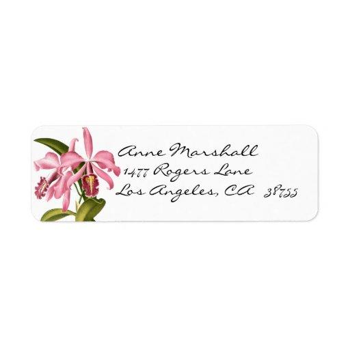 OrchidsAvery för vintage botanisk etikett Returadress Etikett