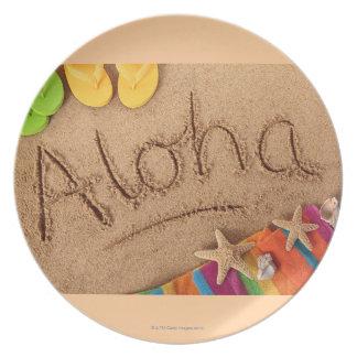 Ord Aloha som är skriftligt på en sandig strand, m Tallrik