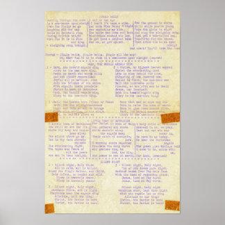 Ord för helgdag för vintagejulsångskrivmaskin poster