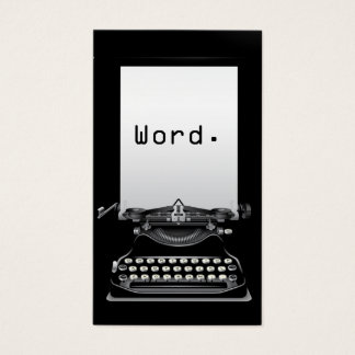 """""""Ord. """"Författare för skrivmaskinsslättsvart Visitkort"""